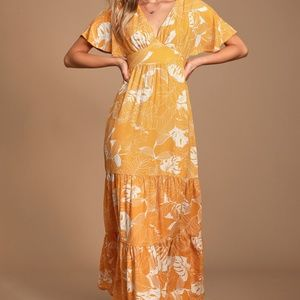 lulus yellow and white floral maxi dress